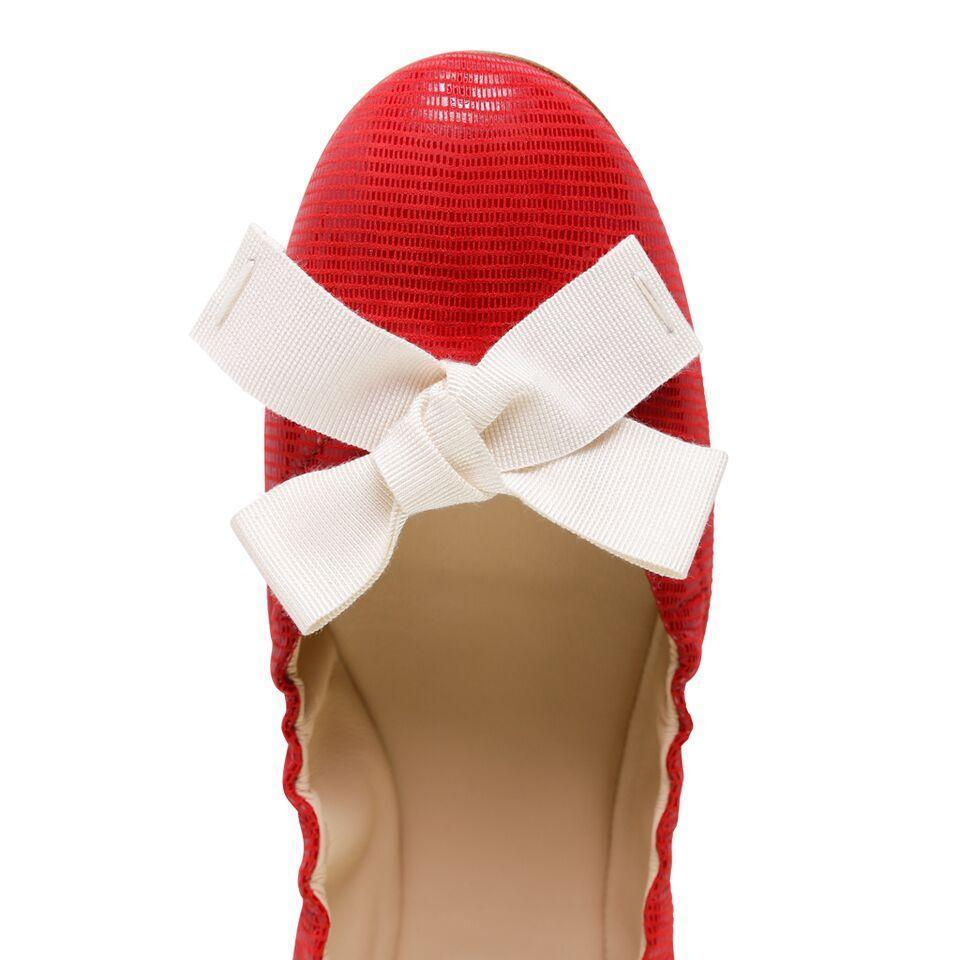 PORTOFINO - Varanus Rosso + Grosgrain Bianco Bow, VIAJIYU - Women's Hand Made Sustainable Luxury Shoes. Made in Italy. Made to Order.