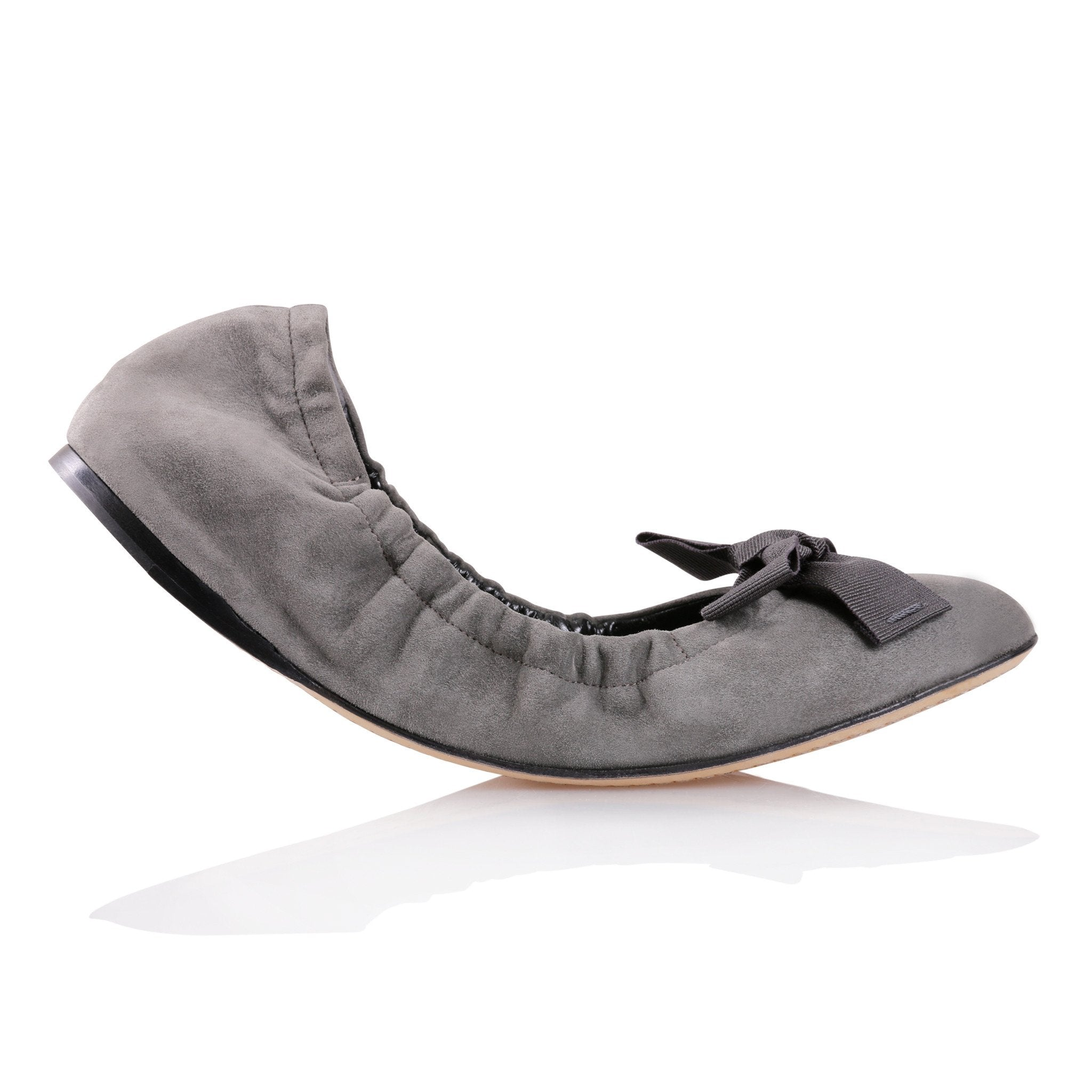 PORTOFINO - Velukid Anthracite + Grosgrain Ferro Bow, VIAJIYU - Women's Hand Made Sustainable Luxury Shoes. Made in Italy. Made to Order.