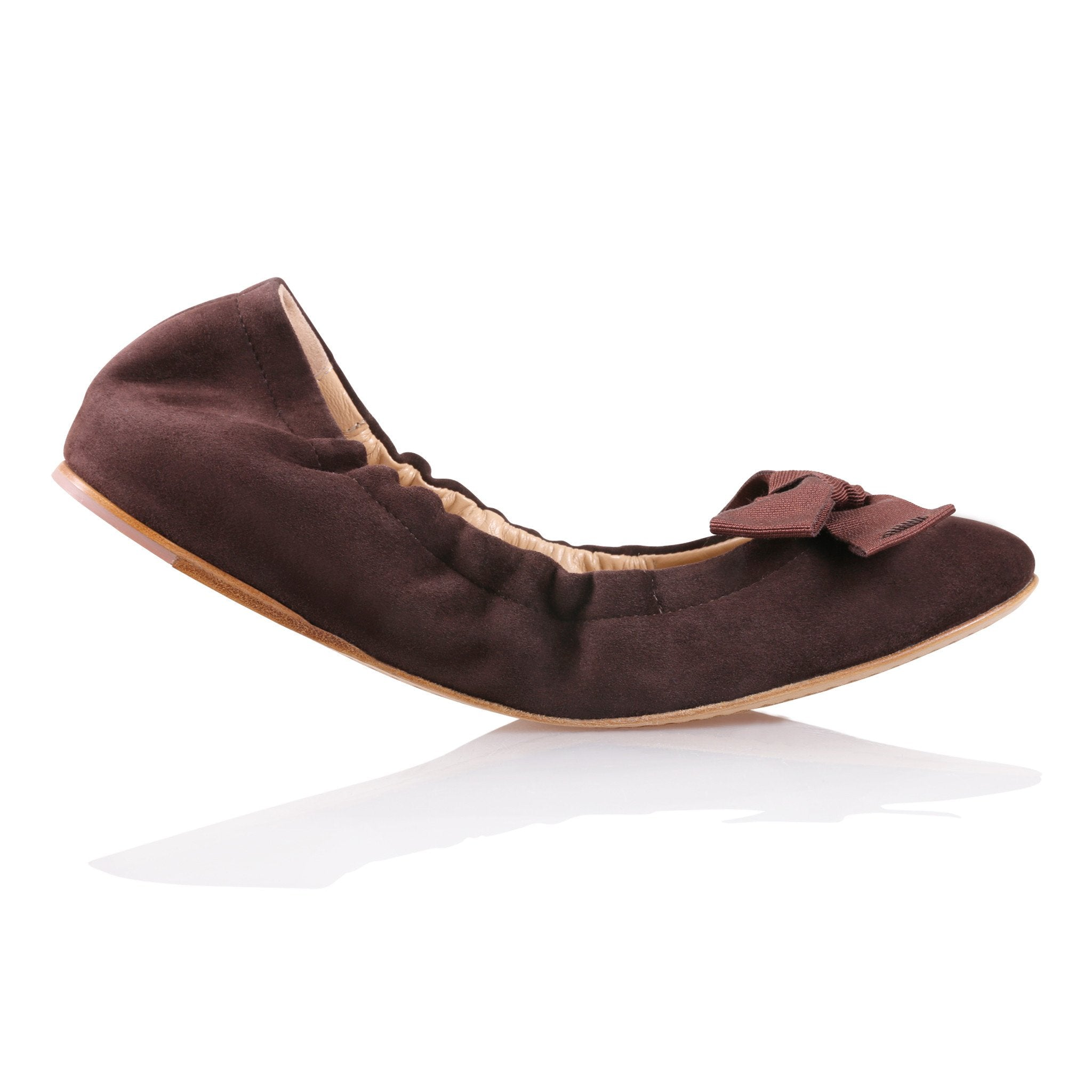 PORTOFINO - Velukid Espresso + Grosgrain Bow, VIAJIYU - Women's Hand Made Sustainable Luxury Shoes. Made in Italy. Made to Order.