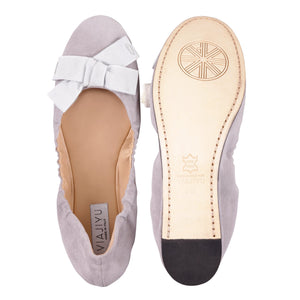 PORTOFINO - Velukid Grigio + Grosgrain Perla Bow, VIAJIYU - Women's Hand Made Sustainable Luxury Shoes. Made in Italy. Made to Order.