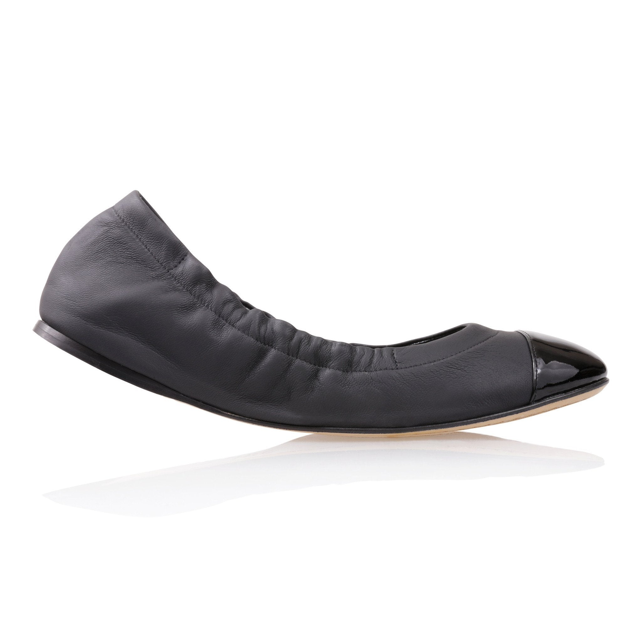 PORTOFINO - Nappa Nero + Patent, VIAJIYU - Women's Hand Made Sustainable Luxury Shoes. Made in Italy. Made to Order.