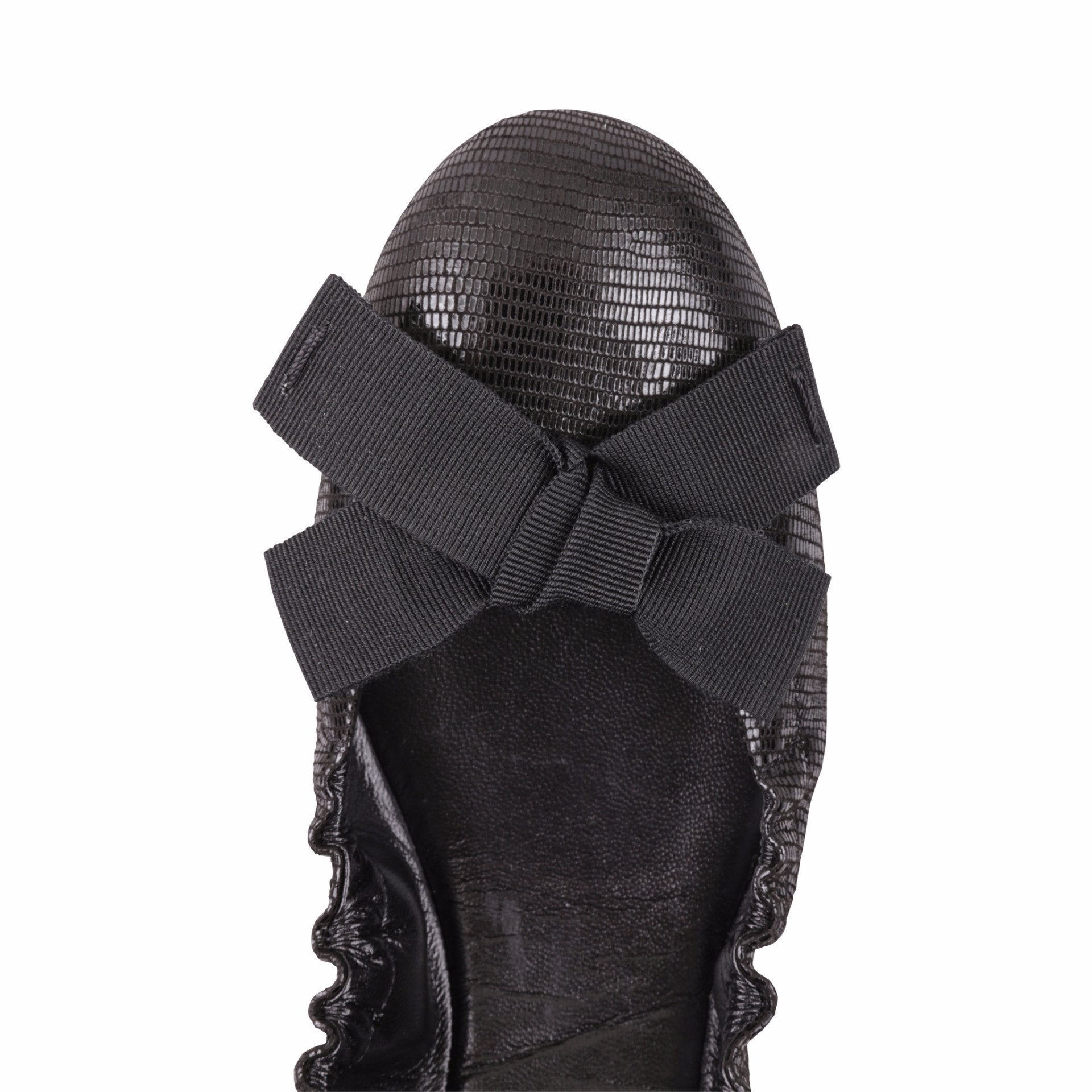 PORTOFINO - Varanus Nero + Grosgrain Bow, VIAJIYU - Women's Hand Made Sustainable Luxury Shoes. Made in Italy. Made to Order.