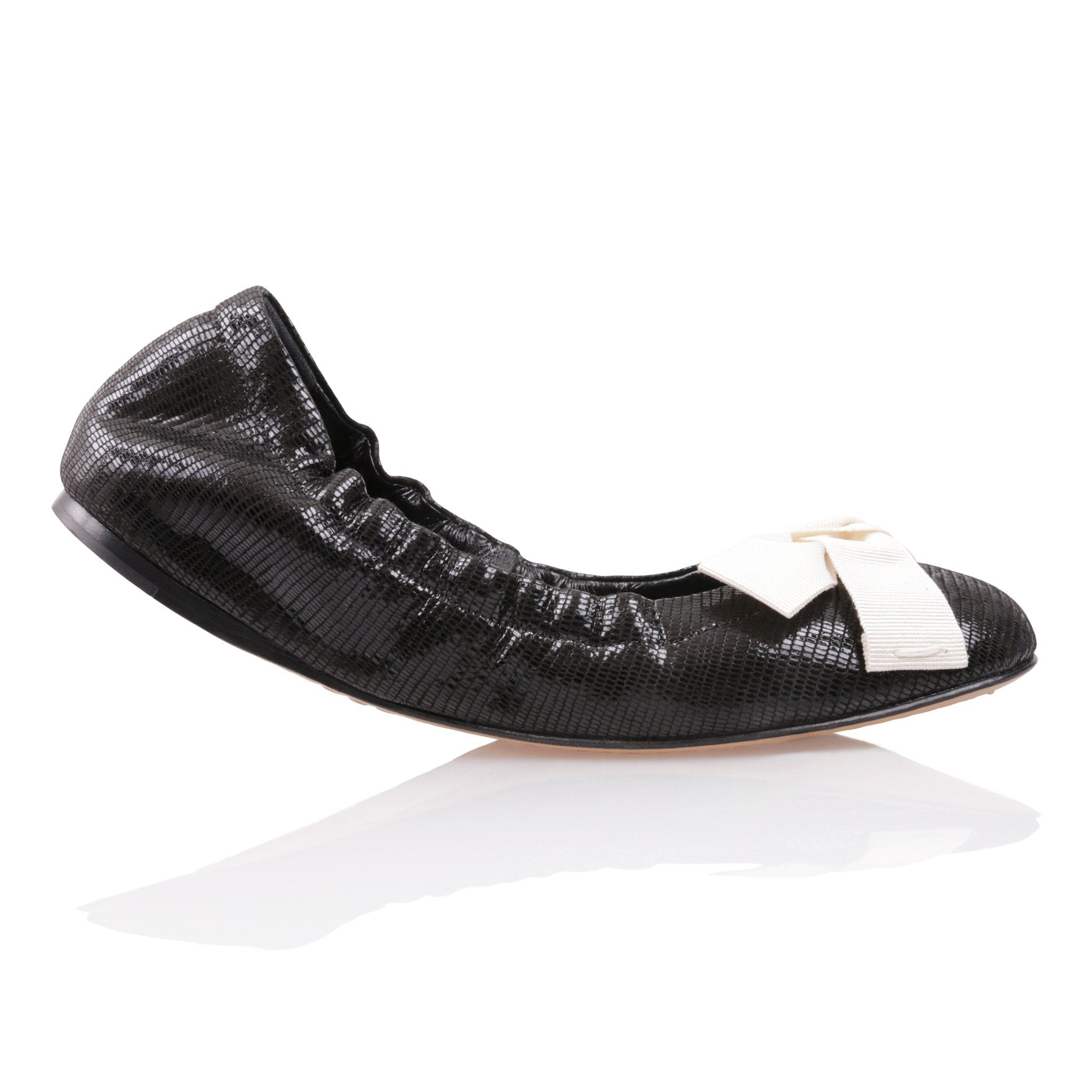 PORTOFINO - Varanus Nero + Grosgrain Panna Bow, VIAJIYU - Women's Hand Made Sustainable Luxury Shoes. Made in Italy. Made to Order.
