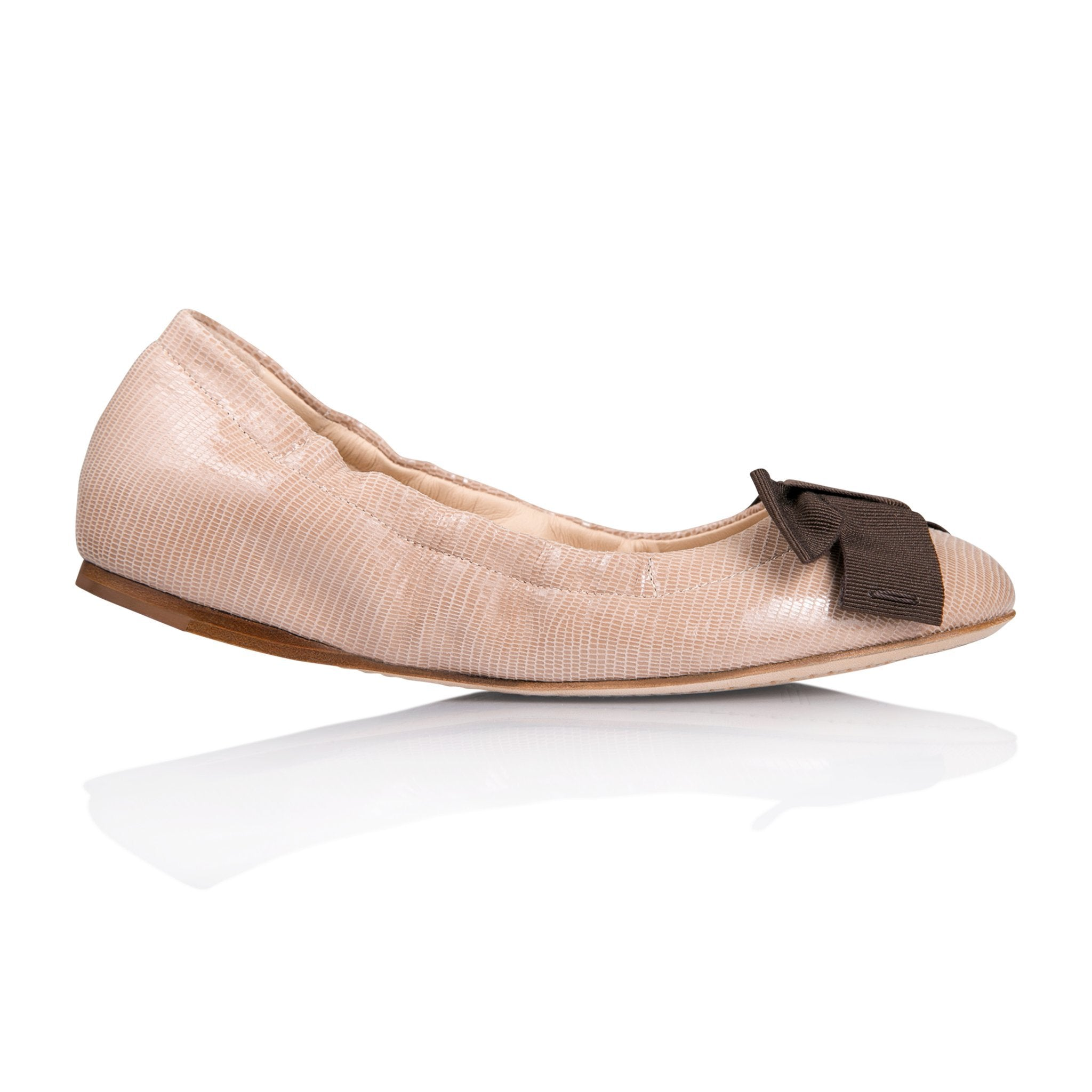 PORTOFINO - Varanus Tan + Grosgrain Espresso Bow, VIAJIYU - Women's Hand Made Sustainable Luxury Shoes. Made in Italy. Made to Order.