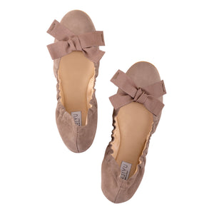 PORTOFINO - Velukid Taupe + Grosgrain Bow, VIAJIYU - Women's Hand Made Sustainable Luxury Shoes. Made in Italy. Made to Order.