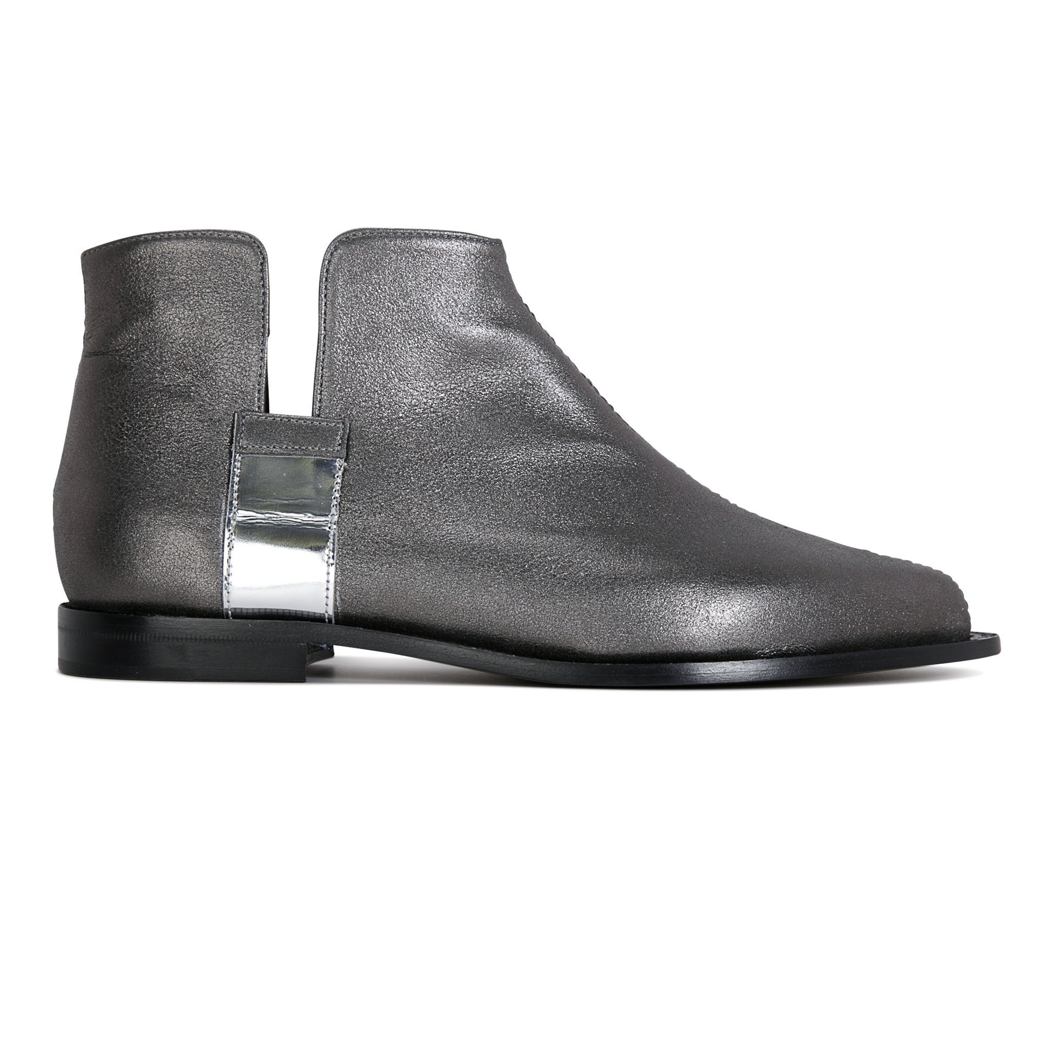 RAVELLO - Burma Anthracite + Metallic Argento, VIAJIYU - Women's Hand Made Sustainable Luxury Shoes. Made in Italy. Made to Order.