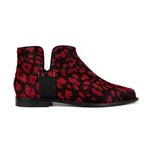 RAVELLO - Calf Hair Red Leopard, VIAJIYU - Women's Hand Made Sustainable Luxury Shoes. Made in Italy. Made to Order.