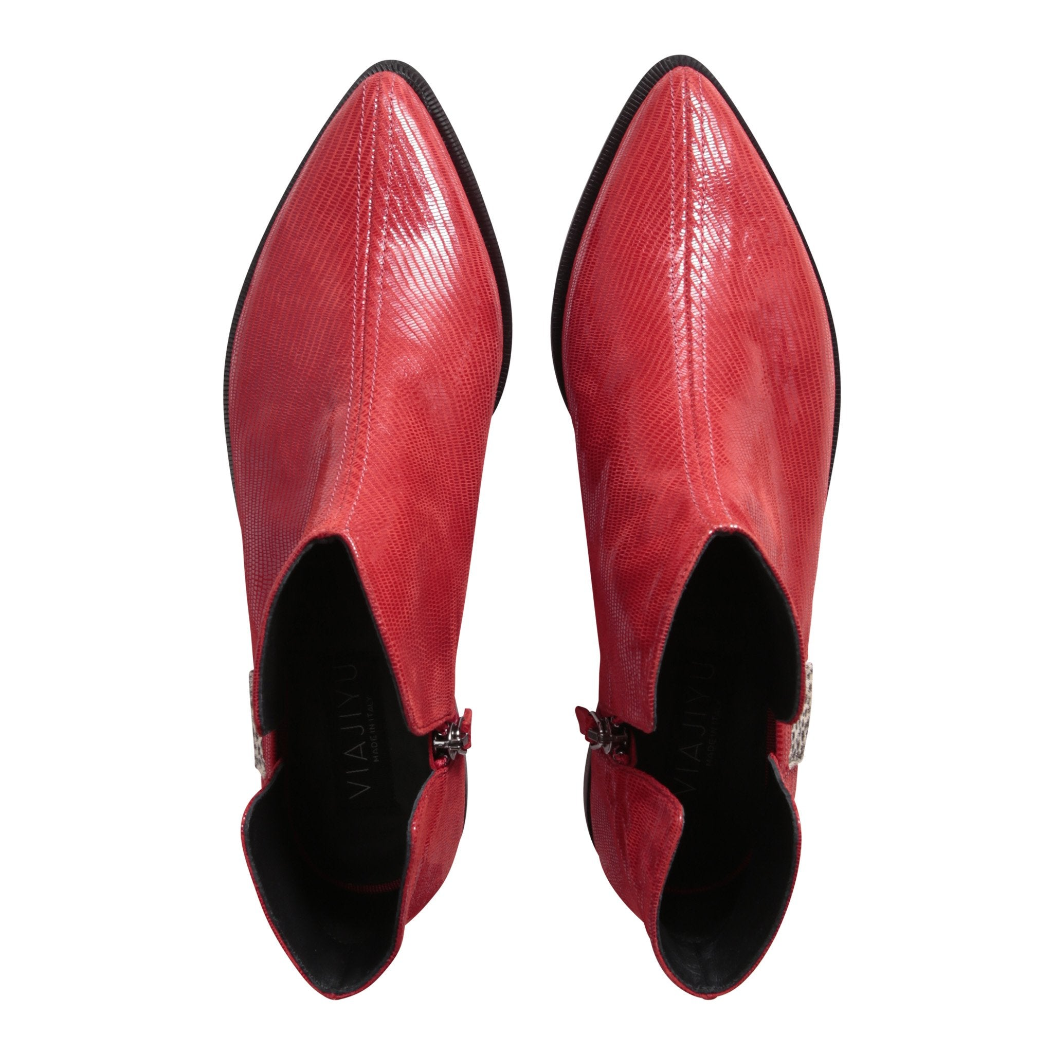 RAVELLO - Varanus Rosso + Panna Cheetah, VIAJIYU - Women's Hand Made Sustainable Luxury Shoes. Made in Italy. Made to Order.