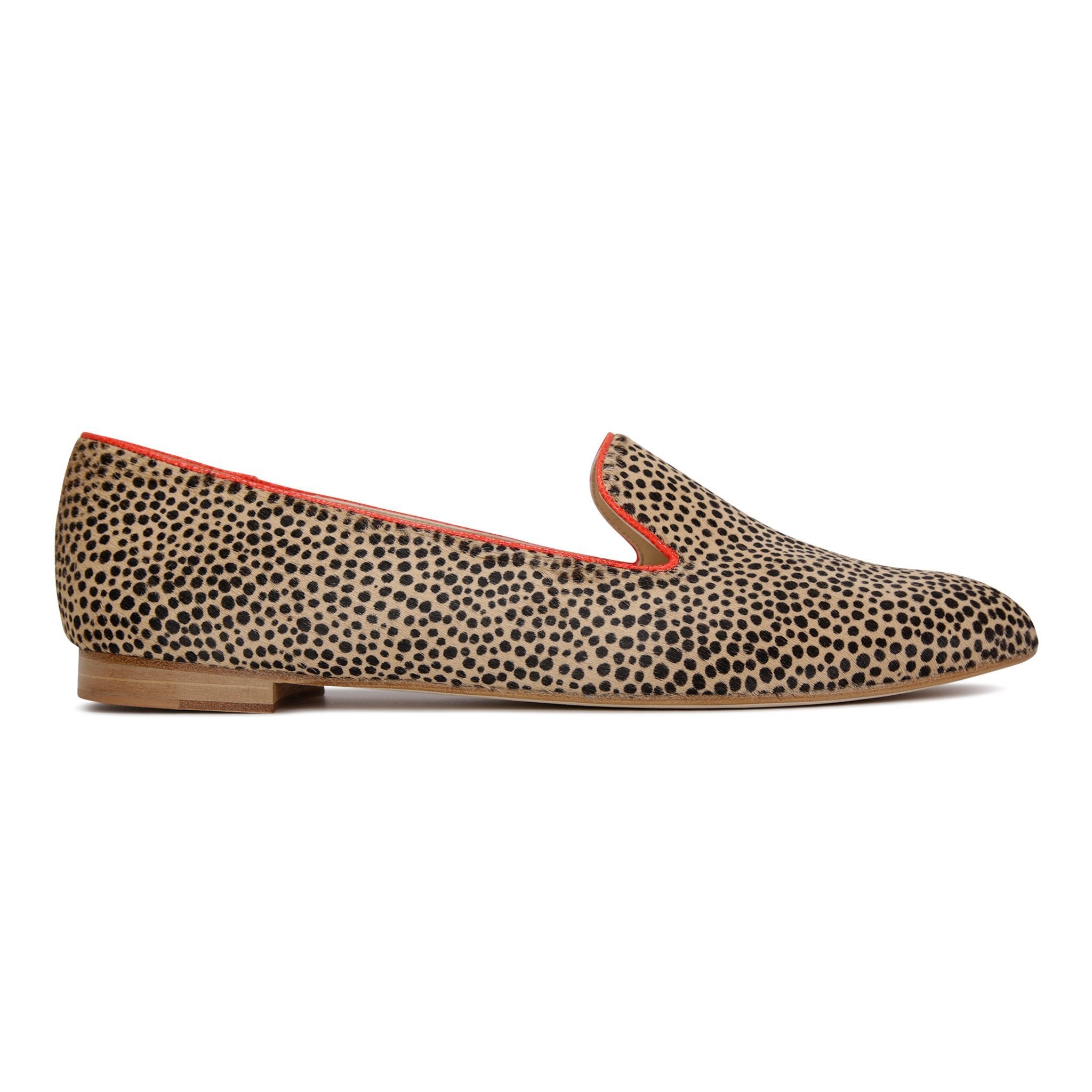 RAVENNA - Calf Hair Orange Cheetah, VIAJIYU - Women's Hand Made Sustainable Luxury Shoes. Made in Italy. Made to Order.