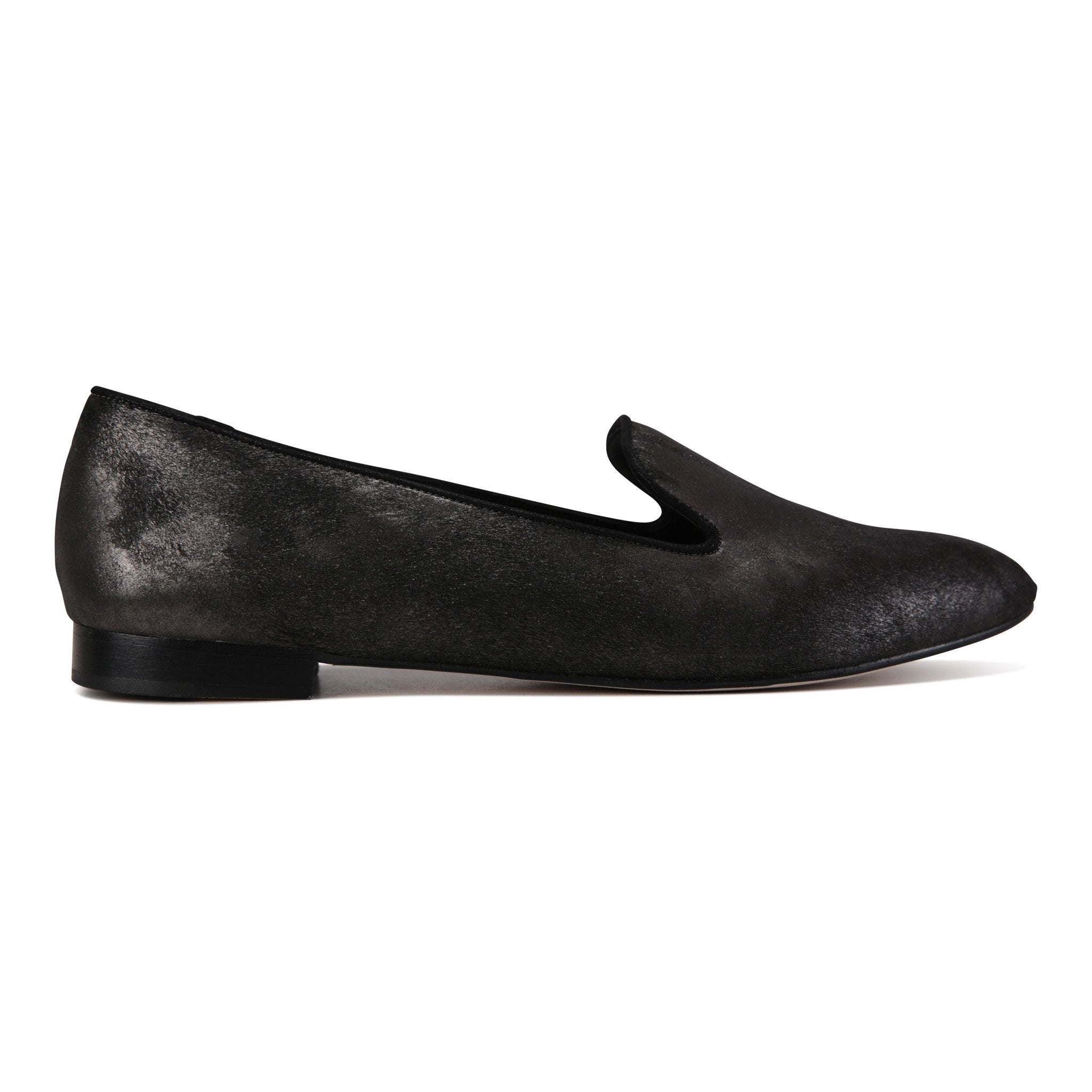 RAVENNA - Calf Hair Vintage Nero, VIAJIYU - Women's Hand Made Sustainable Luxury Shoes. Made in Italy. Made to Order.