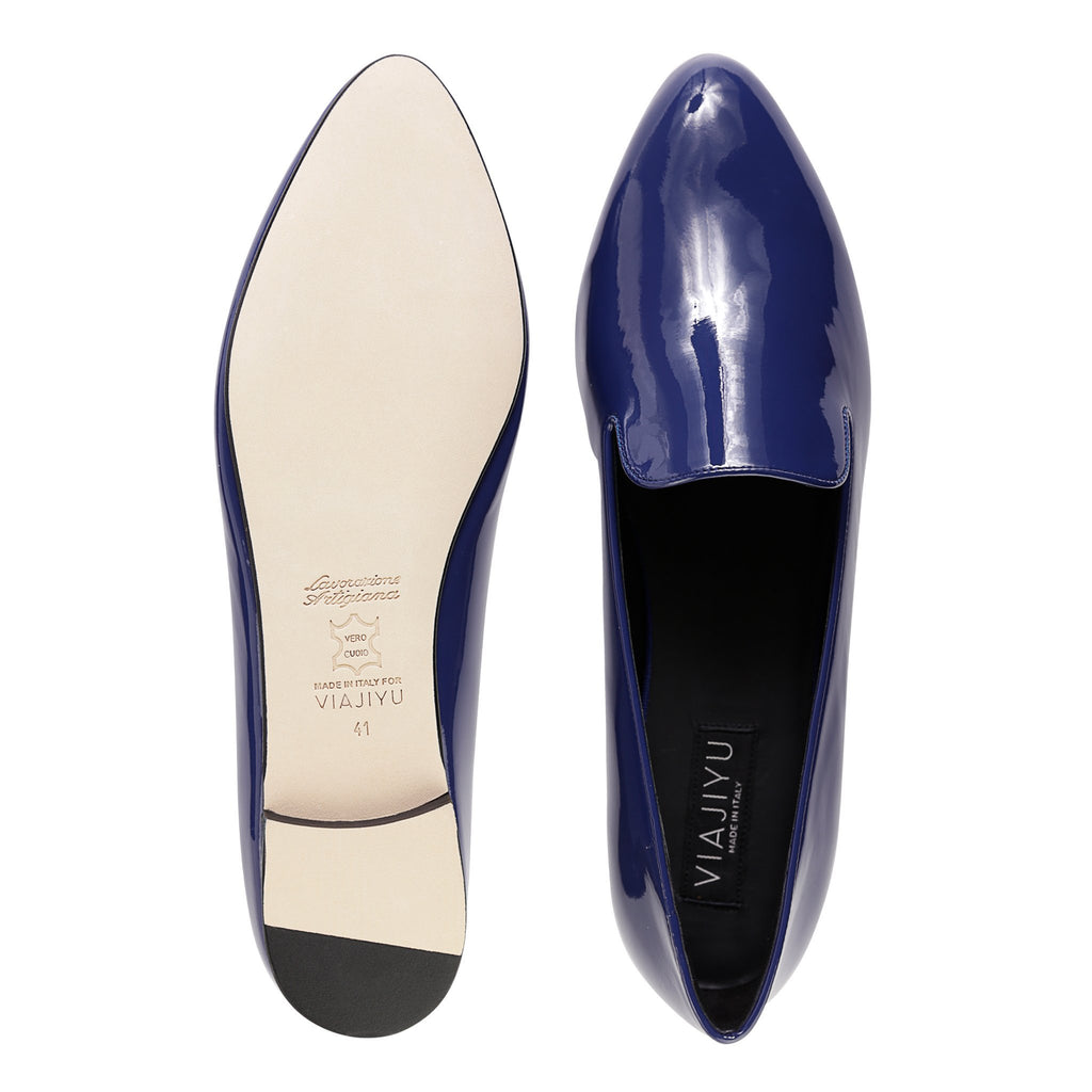 RAVENNA - Patent Midnight, VIAJIYU - Women's Hand Made Sustainable Luxury Shoes. Made in Italy. Made to Order.