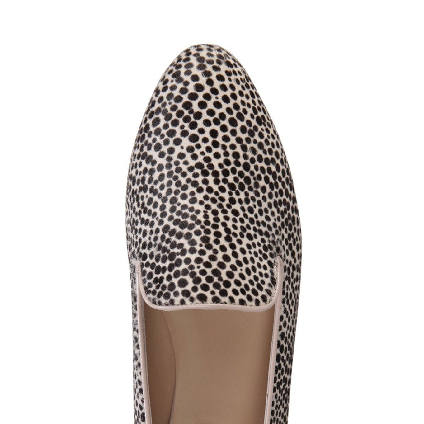 RAVENNA - Calf Hair Panna Cheetah + Nude Trim, VIAJIYU - Women's Hand Made Sustainable Luxury Shoes. Made in Italy. Made to Order.