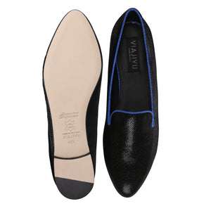 RAVENNA - Karung Nero + Cobalt, VIAJIYU - Women's Hand Made Sustainable Luxury Shoes. Made in Italy. Made to Order.