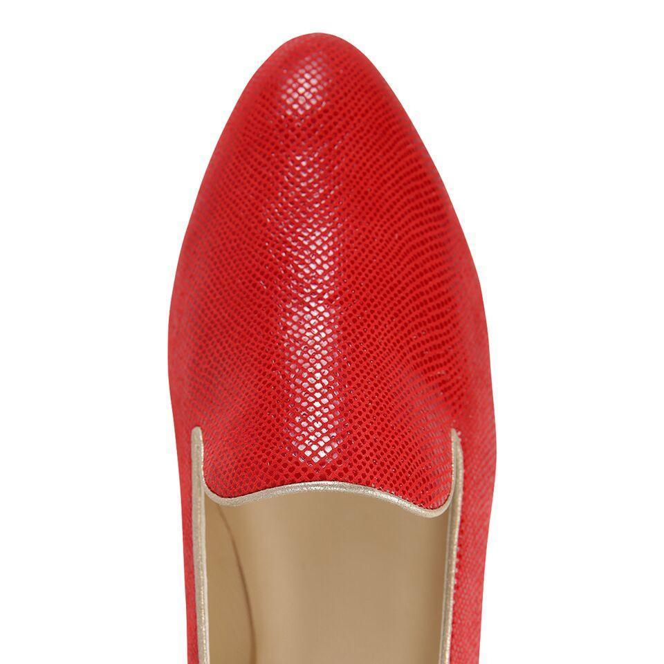 RAVENNA - Karung Rosso + Burma Gold, VIAJIYU - Women's Hand Made Sustainable Luxury Shoes. Made in Italy. Made to Order.
