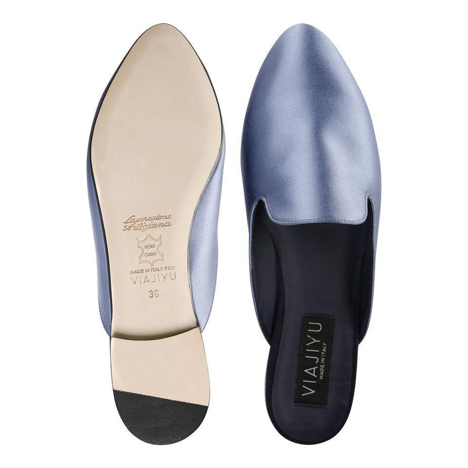 ISEO - Satin Periwinkle, VIAJIYU - Women's Hand Made Sustainable Luxury Shoes. Made in Italy. Made to Order.