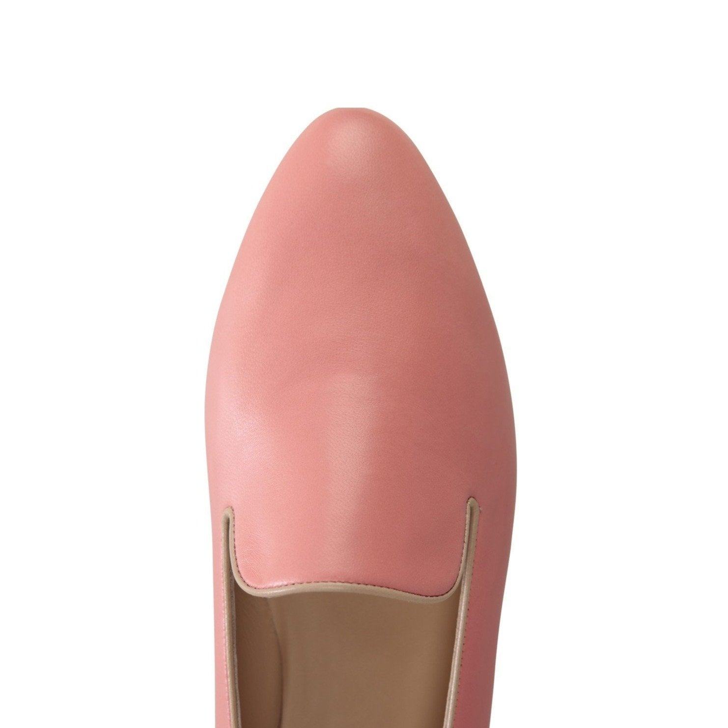 RAVENNA - Nappa Peach + Nude Trim, VIAJIYU - Women's Hand Made Sustainable Luxury Shoes. Made in Italy. Made to Order.