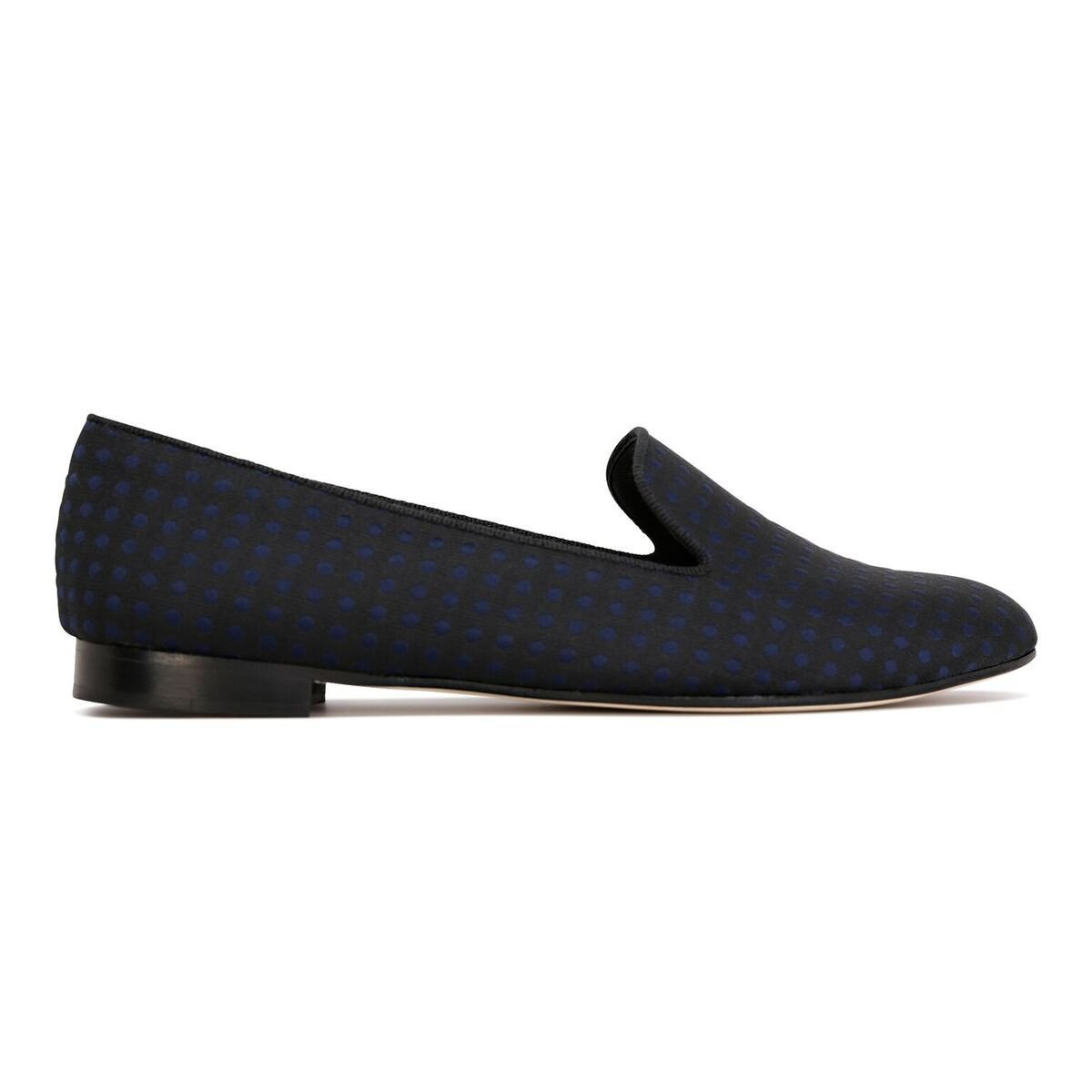 RAVENNA - Textile Polka Dot Midnight, VIAJIYU - Women's Hand Made Sustainable Luxury Shoes. Made in Italy. Made to Order.