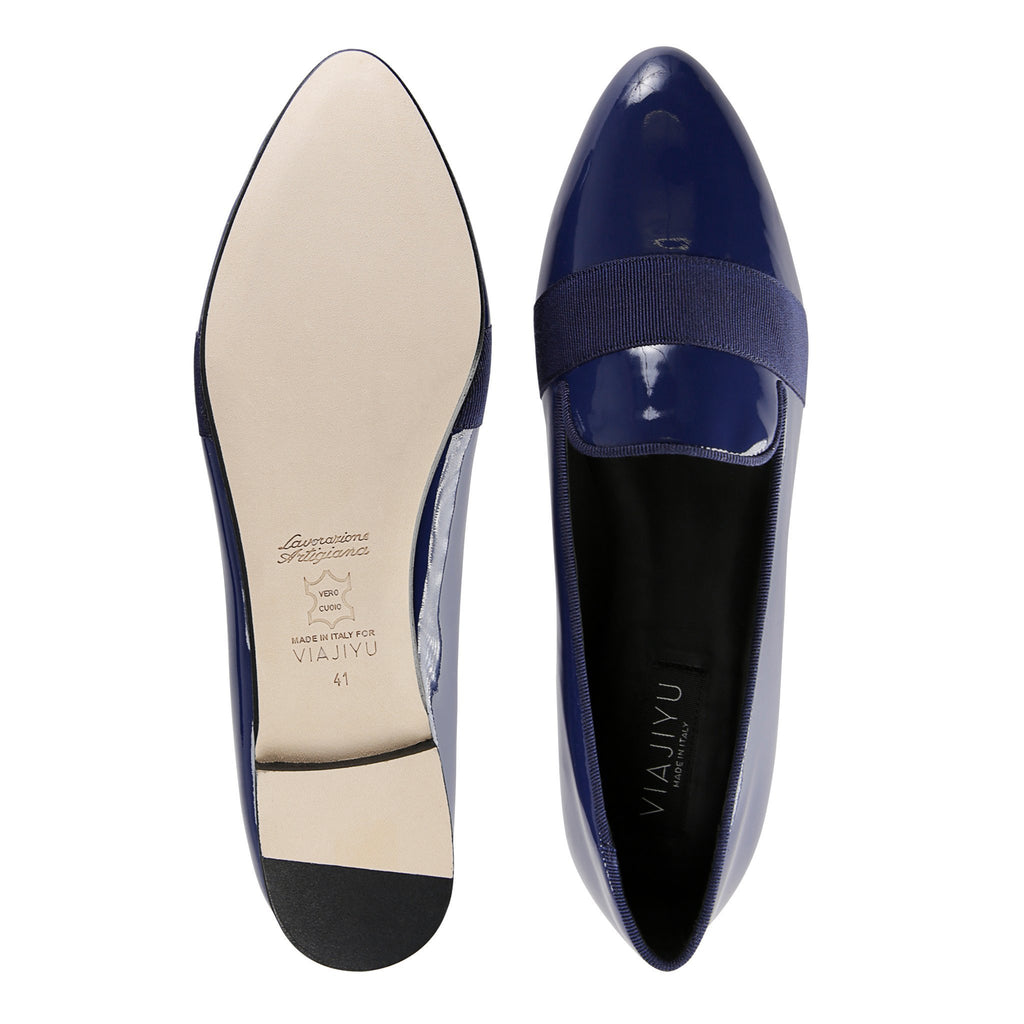 RAVENNA - Patent Midnight + Grosgrain Stripe, VIAJIYU - Women's Hand Made Sustainable Luxury Shoes. Made in Italy. Made to Order.