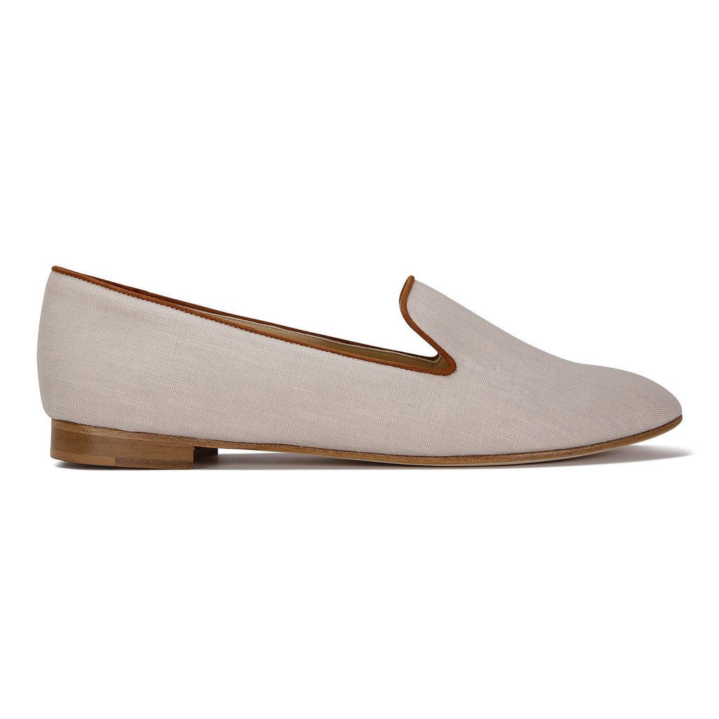 RAVENNA - Linen Natural + Velukid Dune, VIAJIYU - Women's Hand Made Sustainable Luxury Shoes. Made in Italy. Made to Order.