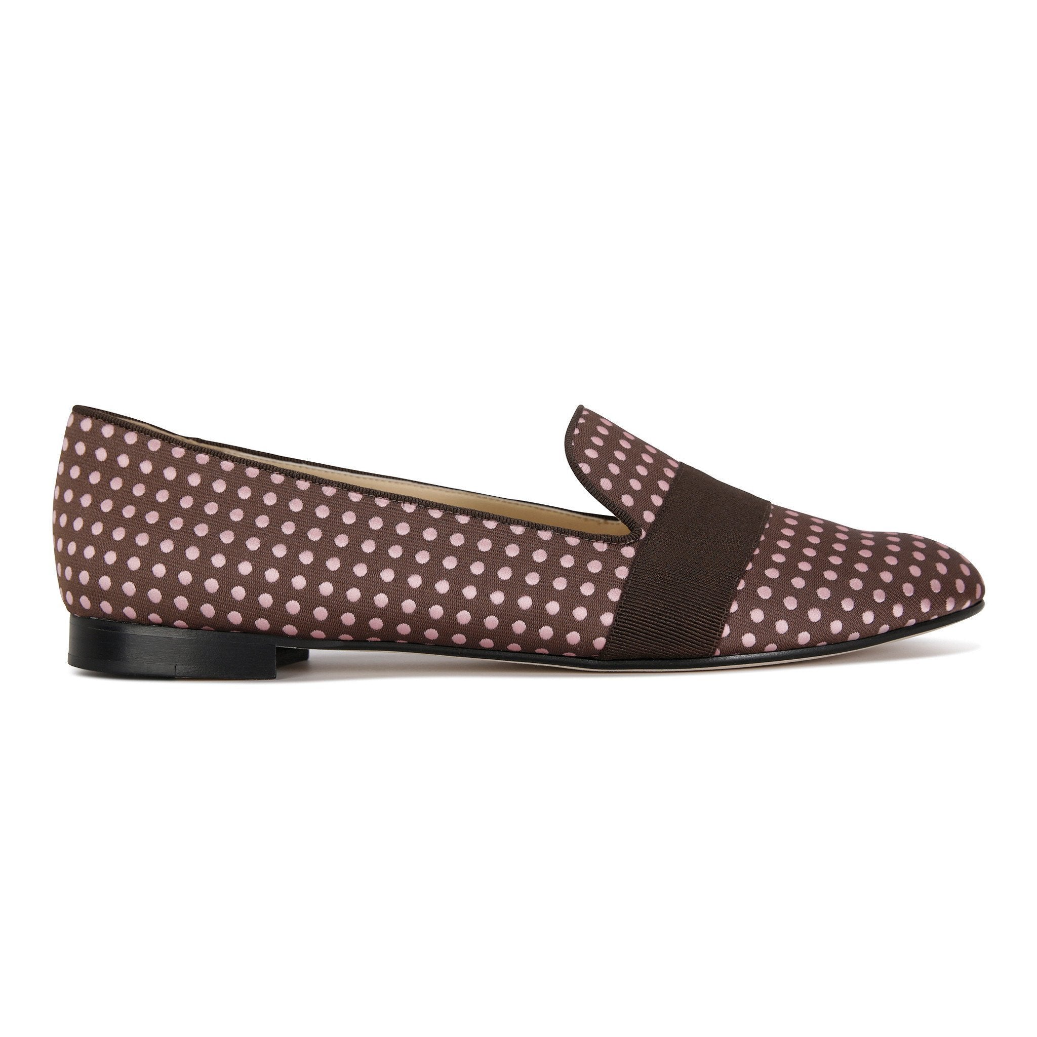 RAVENNA - Textile Pink and Brown Dots + Grosgrain Moro, VIAJIYU - Women's Hand Made Sustainable Luxury Shoes. Made in Italy. Made to Order.