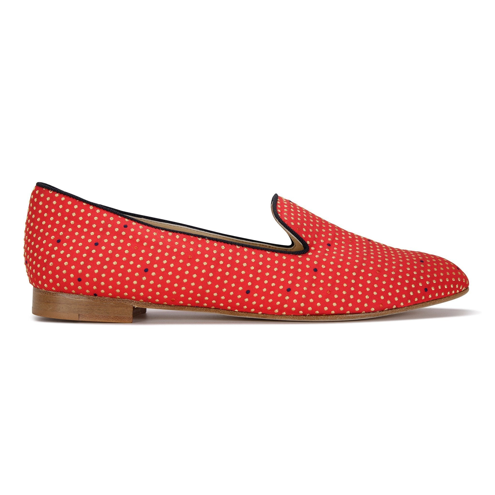 RAVENNA - Textile Chili Minidot + Velukid Midnight, VIAJIYU - Women's Hand Made Sustainable Luxury Shoes. Made in Italy. Made to Order.