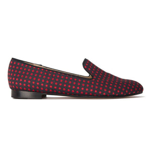 RAVENNA - Textile Polka Dot Rosso, VIAJIYU - Women's Hand Made Sustainable Luxury Shoes. Made in Italy. Made to Order.