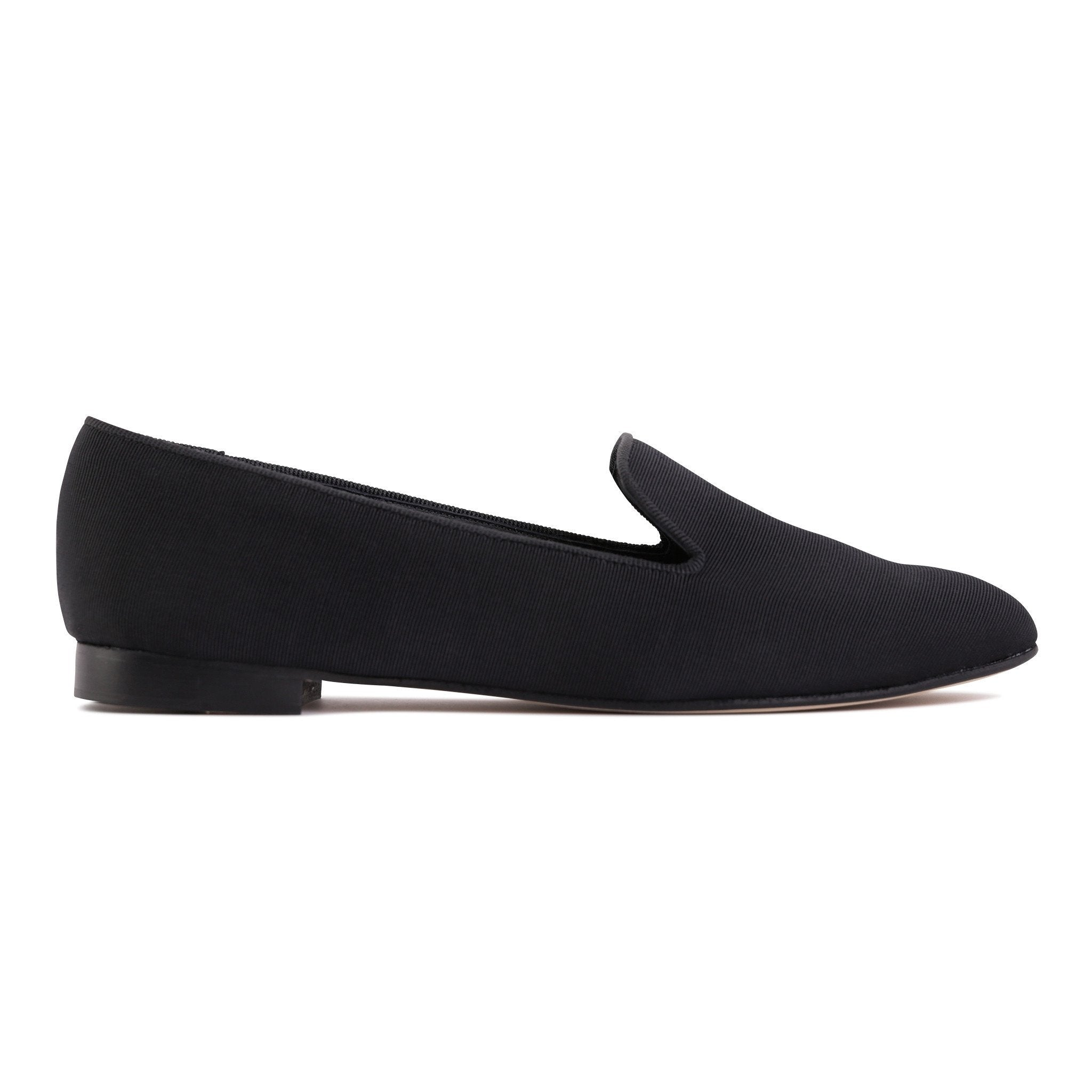 RAVENNA - Textile Grosgrain Nero, VIAJIYU - Women's Hand Made Sustainable Luxury Shoes. Made in Italy. Made to Order.
