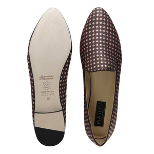 RAVENNA - Textile Pink and Brown Dots, VIAJIYU - Women's Hand Made Sustainable Luxury Shoes. Made in Italy. Made to Order.