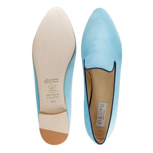 RAVENNA - Velukid Blue Sky + Midnight, VIAJIYU - Women's Hand Made Sustainable Luxury Shoes. Made in Italy. Made to Order.