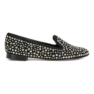 RAVENNA - Velukid Nero + Big Silver + Gold Studs, VIAJIYU - Women's Hand Made Sustainable Luxury Shoes. Made in Italy. Made to Order.