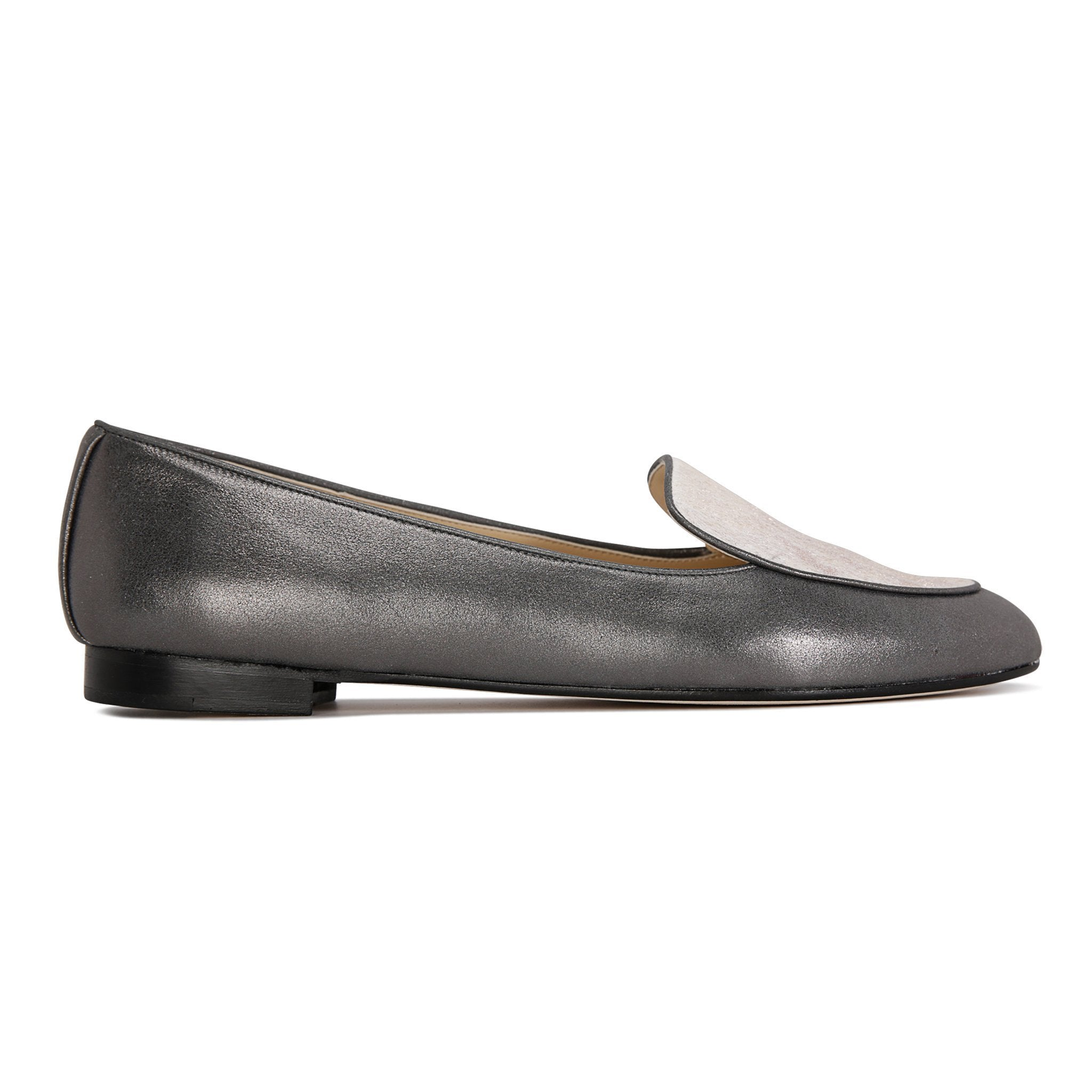 REGGIO - Burma Anthracite + Calf Hair Vintage Rose Gold, VIAJIYU - Women's Hand Made Sustainable Luxury Shoes. Made in Italy. Made to Order.
