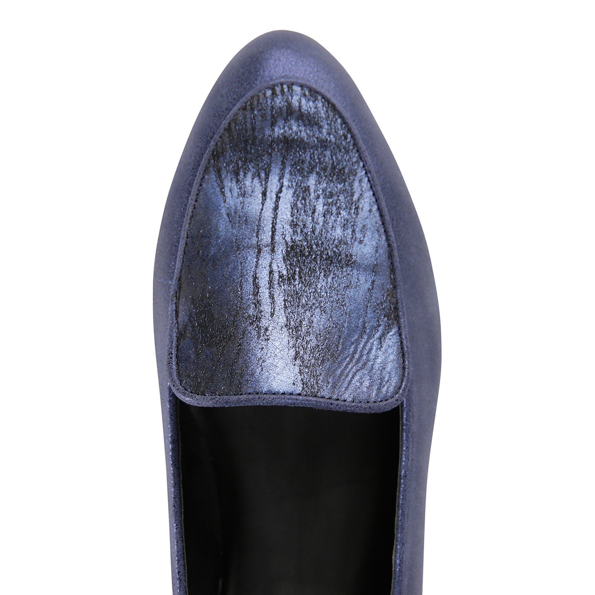 REGGIO - Burma Navy + Calf Hair Vintage Midnight, VIAJIYU - Women's Hand Made Sustainable Luxury Shoes. Made in Italy. Made to Order.