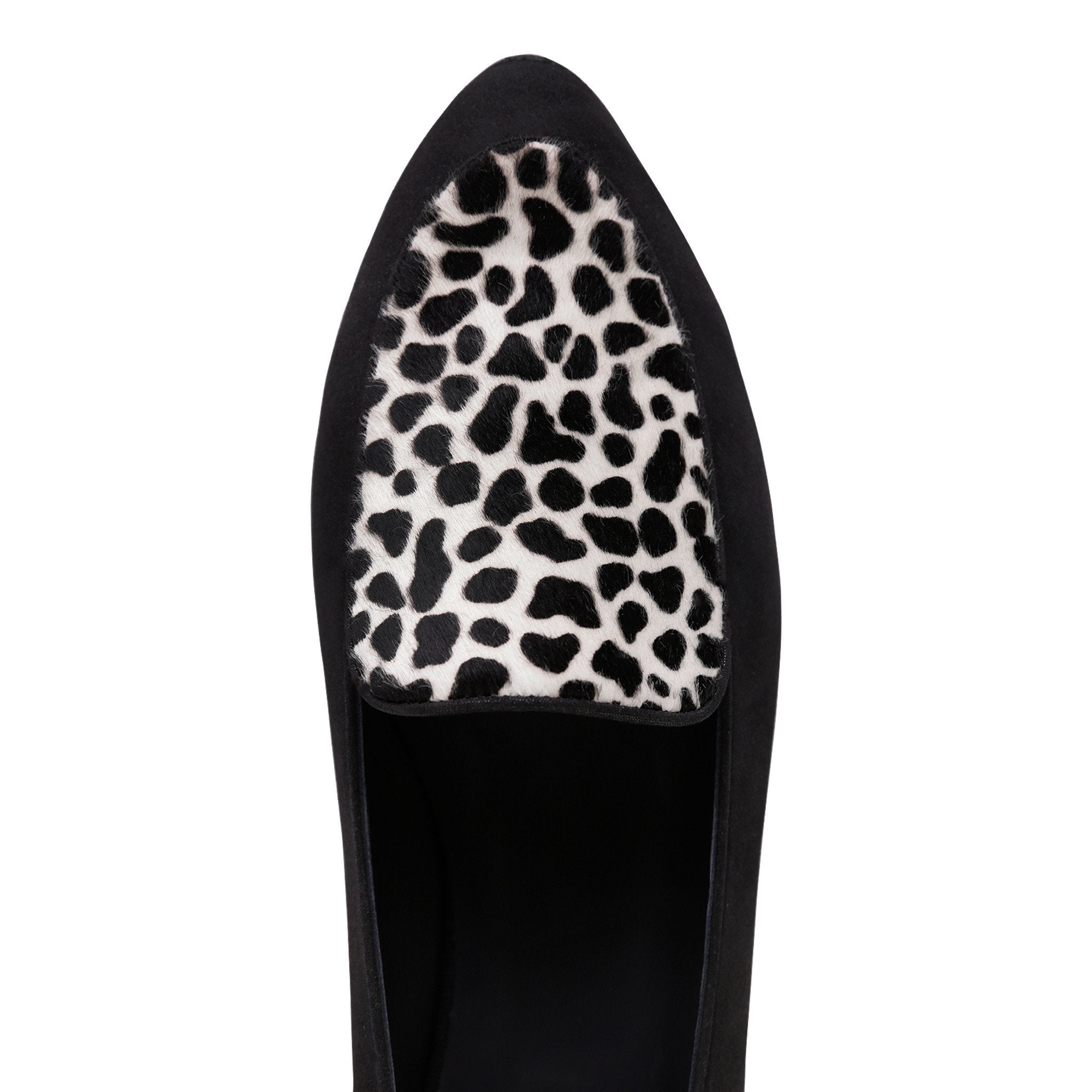 REGGIO - Hydra Nero + Calf Hair Dalmatian, VIAJIYU - Women's Hand Made Sustainable Luxury Shoes. Made in Italy. Made to Order.