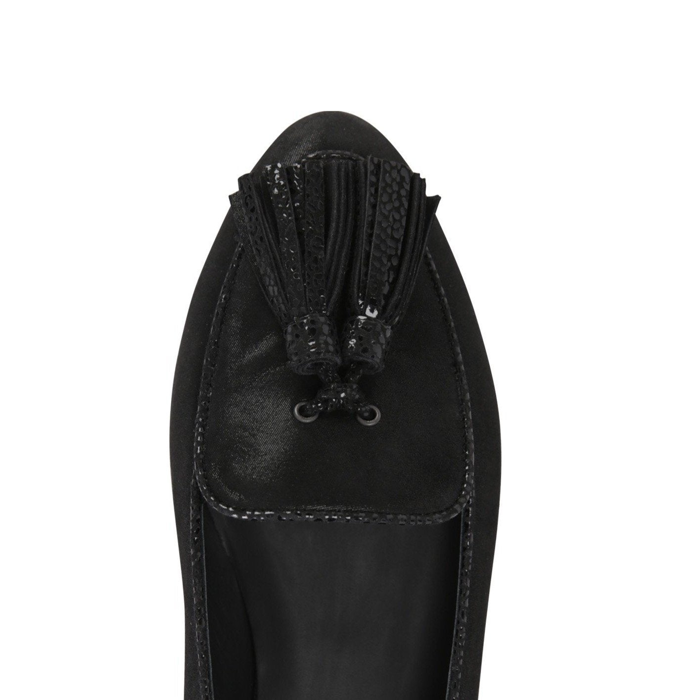 REGGIO - Hydra + Karung Nero Tassel, VIAJIYU - Women's Hand Made Sustainable Luxury Shoes. Made in Italy. Made to Order.