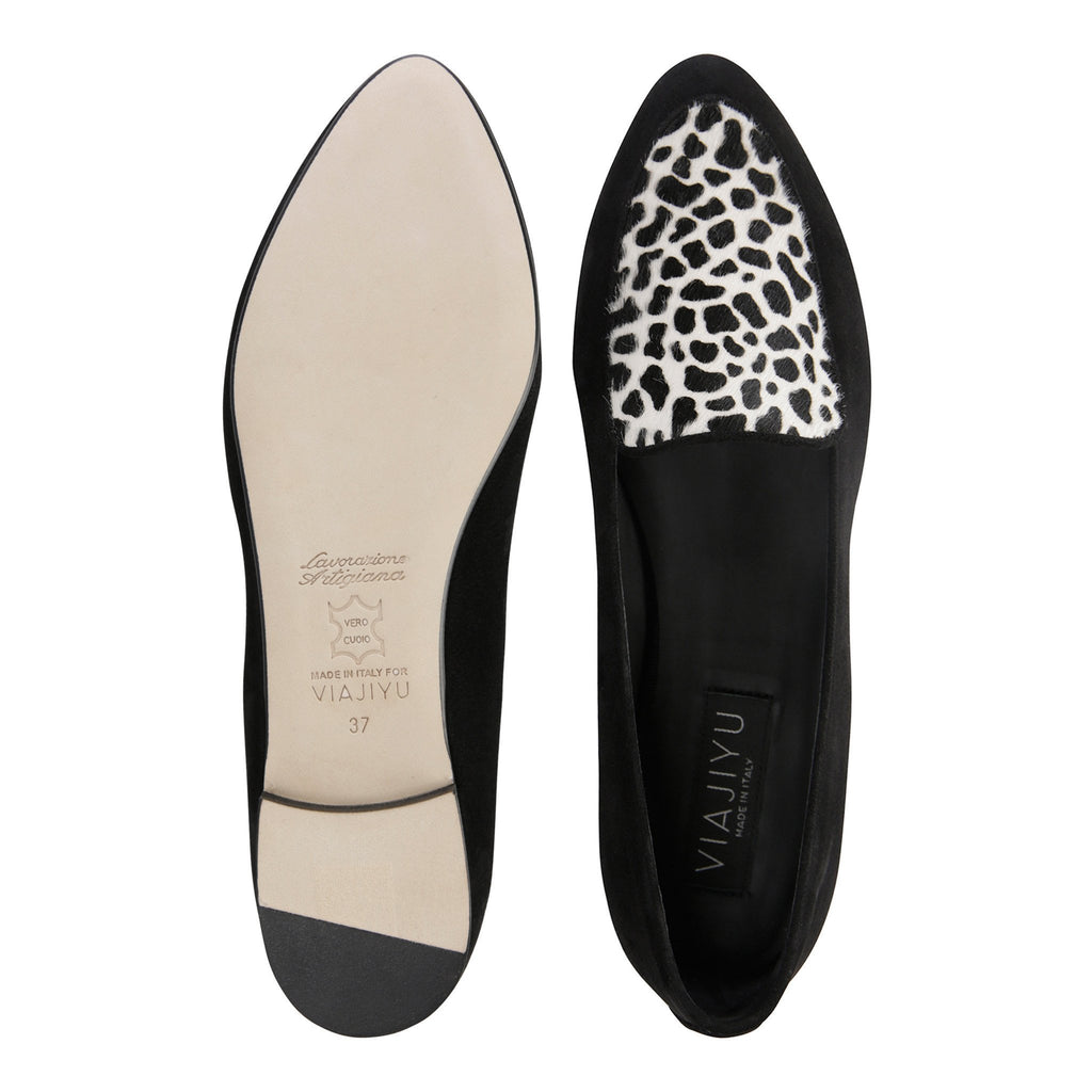 REGGIO - Velukid Nero + Calf Hair Dalmatian, VIAJIYU - Women's Hand Made Sustainable Luxury Shoes. Made in Italy. Made to Order.