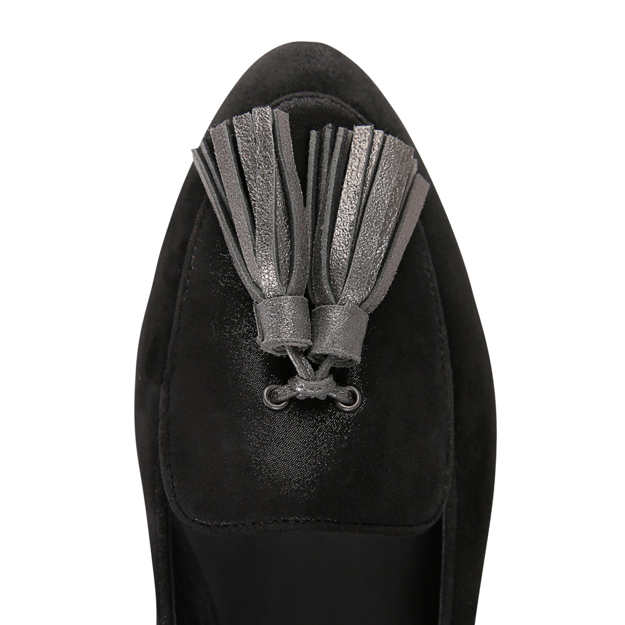 REGGIO - Velukid Nero + Hydra Nero + Burma Anthracite Tassel, VIAJIYU - Women's Hand Made Sustainable Luxury Shoes. Made in Italy. Made to Order.