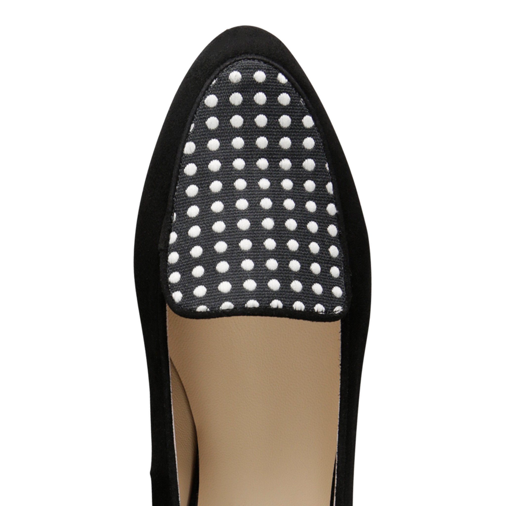 REGGIO - Velukid Nero + Textile Polka Dot Black & White, VIAJIYU - Women's Hand Made Sustainable Luxury Shoes. Made in Italy. Made to Order.