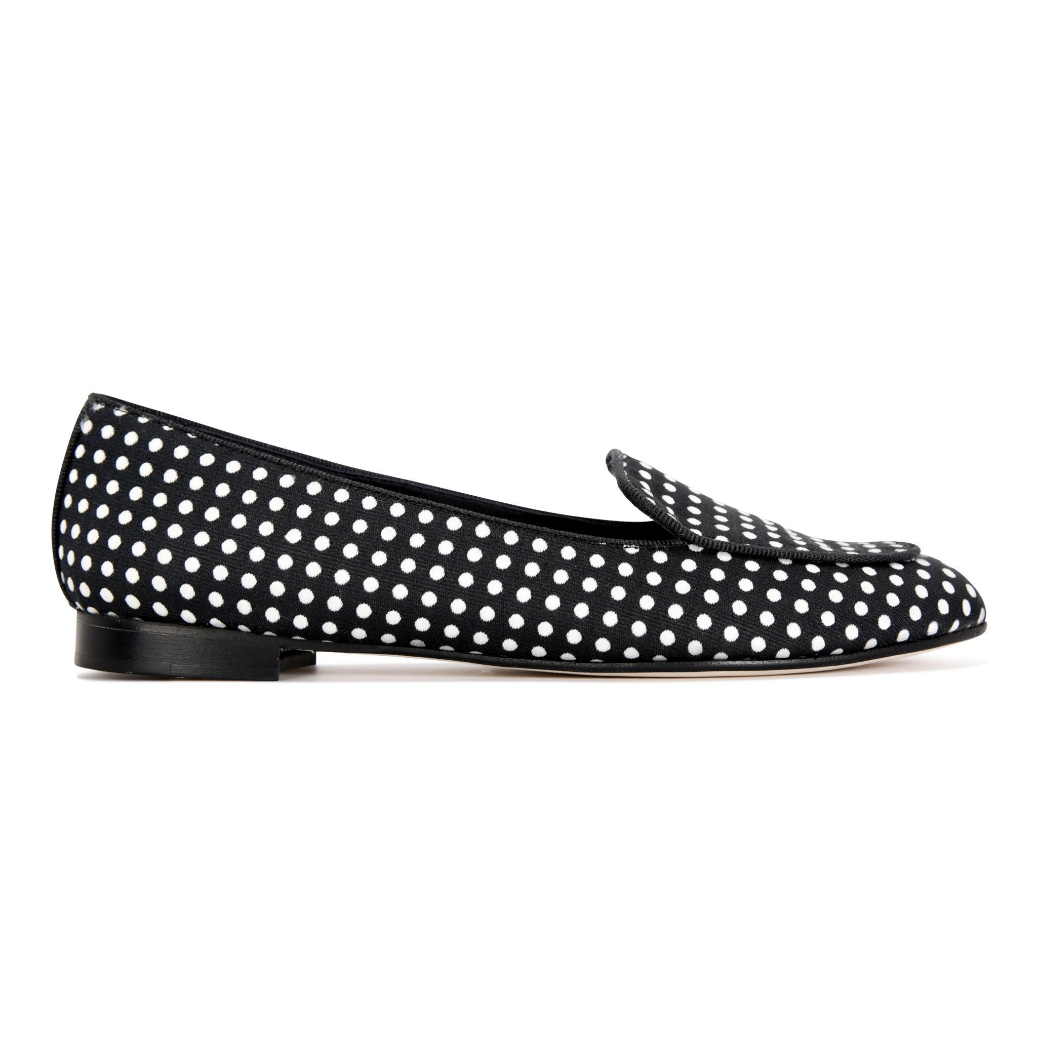 REGGIO - Textile Polka Dot Black + White, VIAJIYU - Women's Hand Made Sustainable Luxury Shoes. Made in Italy. Made to Order.