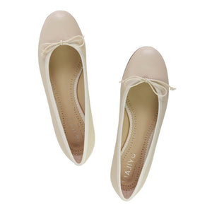 ROMA - Nappa Beige + Drawstring Panna Bow, VIAJIYU - Women's Hand Made Sustainable Luxury Shoes. Made in Italy. Made to Order.