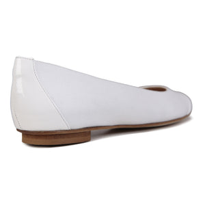 ROMA - Canvas + Patent Bianco, VIAJIYU - Women's Hand Made Sustainable Luxury Shoes. Made in Italy. Made to Order.