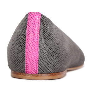 ROMA - Karung Anthracite + Epiphany Pink, VIAJIYU - Women's Hand Made Sustainable Luxury Shoes. Made in Italy. Made to Order.