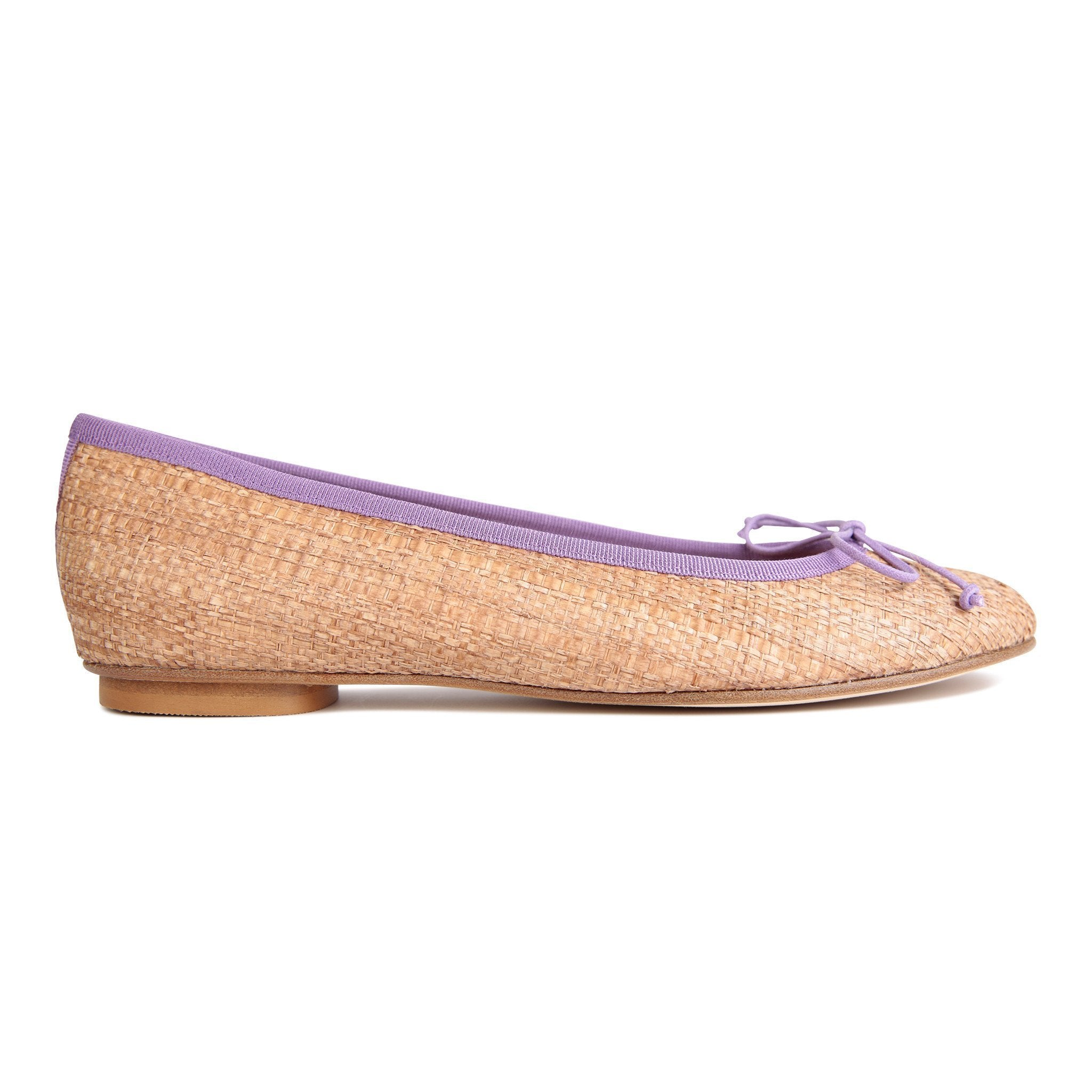 ROMA - Raffia Natural + Drawstring Circlamino Bow, VIAJIYU - Women's Hand Made Sustainable Luxury Shoes. Made in Italy. Made to Order.