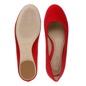 ROMA - Velvet Rosso, VIAJIYU - Women's Hand Made Sustainable Luxury Shoes. Made in Italy. Made to Order.