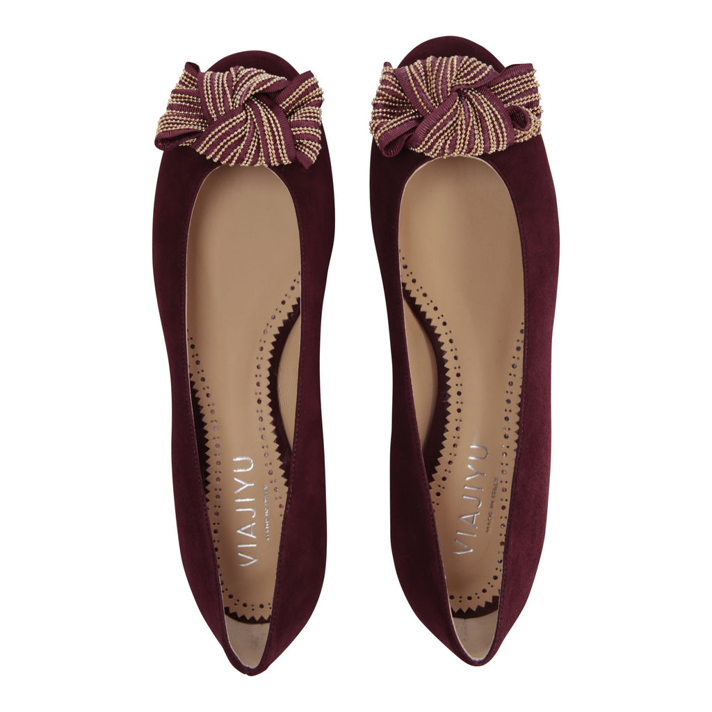 ROMA - Velukid Garnet + Gold Stud Bow, VIAJIYU - Women's Hand Made Sustainable Luxury Shoes. Made in Italy. Made to Order.