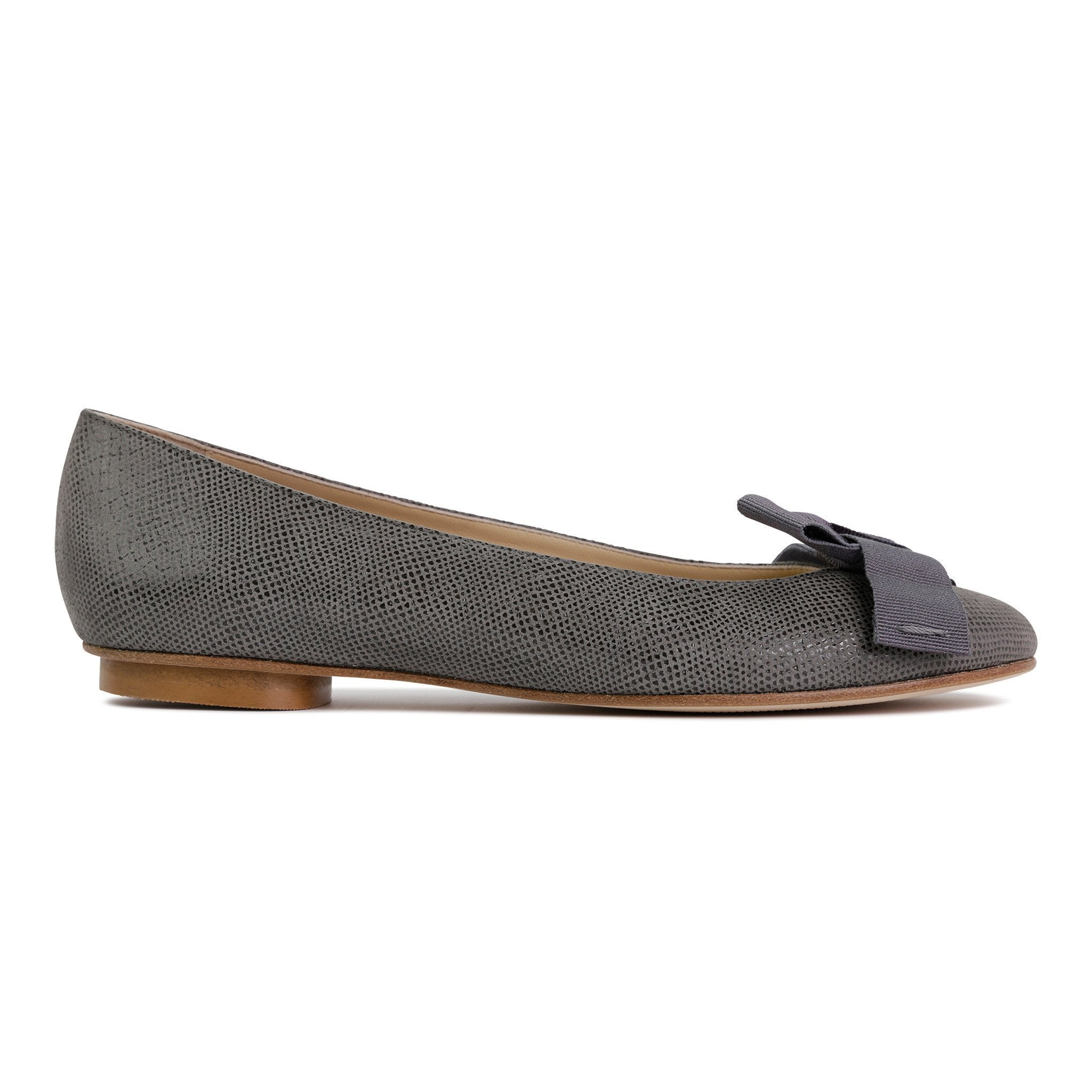 ROMA - Karung Anthracite + Grosgrain Bow, VIAJIYU - Women's Hand Made Sustainable Luxury Shoes. Made in Italy. Made to Order.