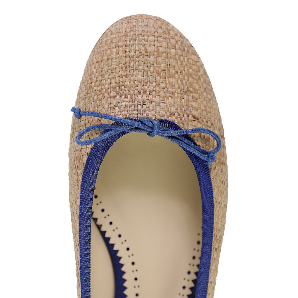 ROMA - Raffia Natural + Drawstring Navy Bow, VIAJIYU - Women's Hand Made Sustainable Luxury Shoes. Made in Italy. Made to Order.