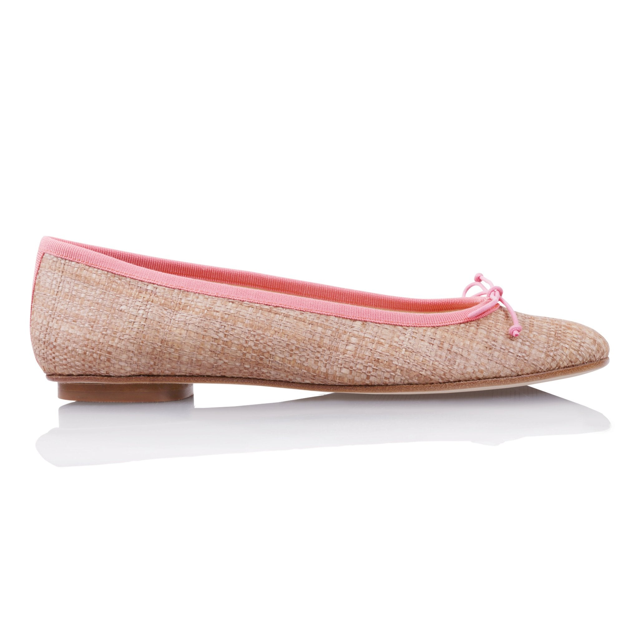 ROMA - Raffia Natural + Drawstring Coral Bow, VIAJIYU - Women's Hand Made Sustainable Luxury Shoes. Made in Italy. Made to Order.