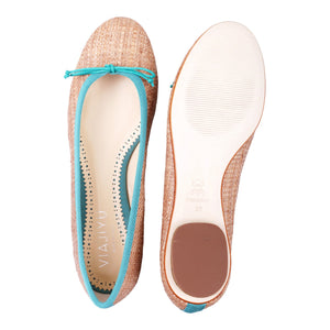 ROMA - Raffia Natural +  Drawstring Seafoam Bow, VIAJIYU - Women's Hand Made Sustainable Luxury Shoes. Made in Italy. Made to Order.