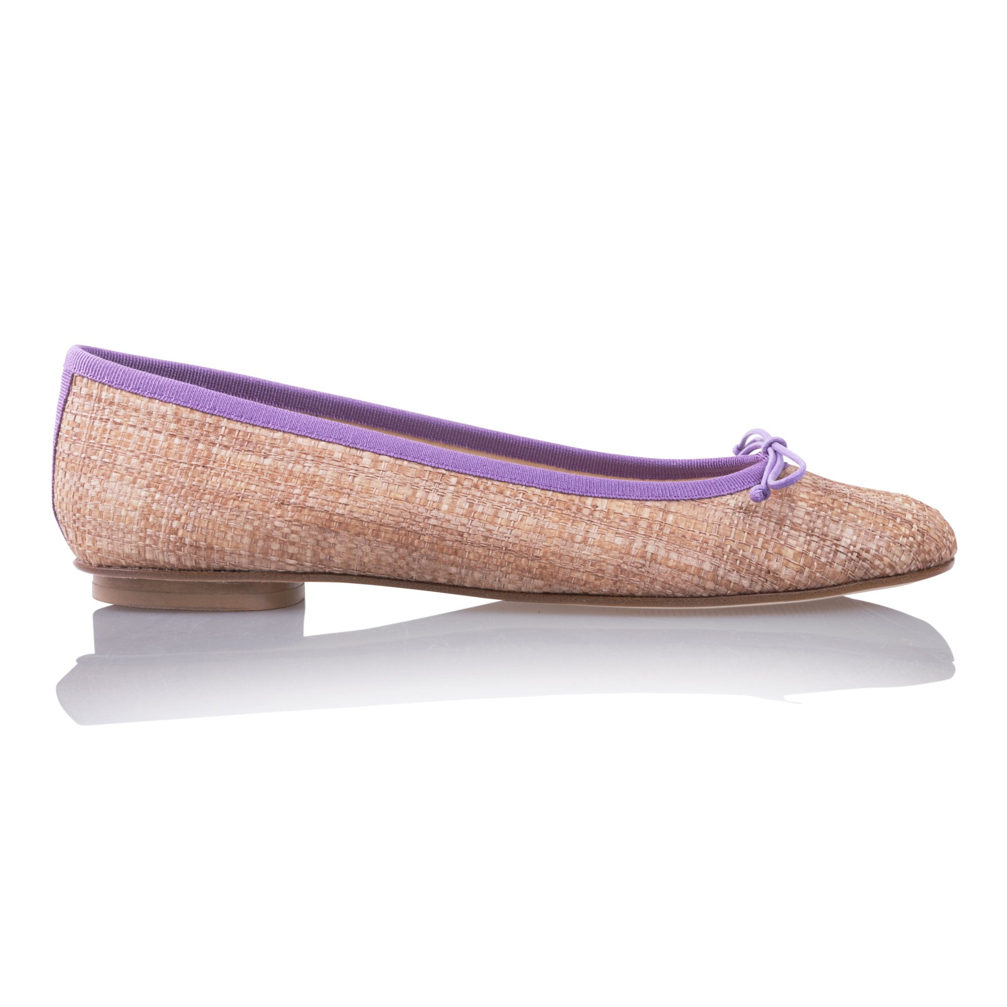 ROMA - Raffia Natural + Drawstring Lavender Bow, VIAJIYU - Women's Hand Made Sustainable Luxury Shoes. Made in Italy. Made to Order.