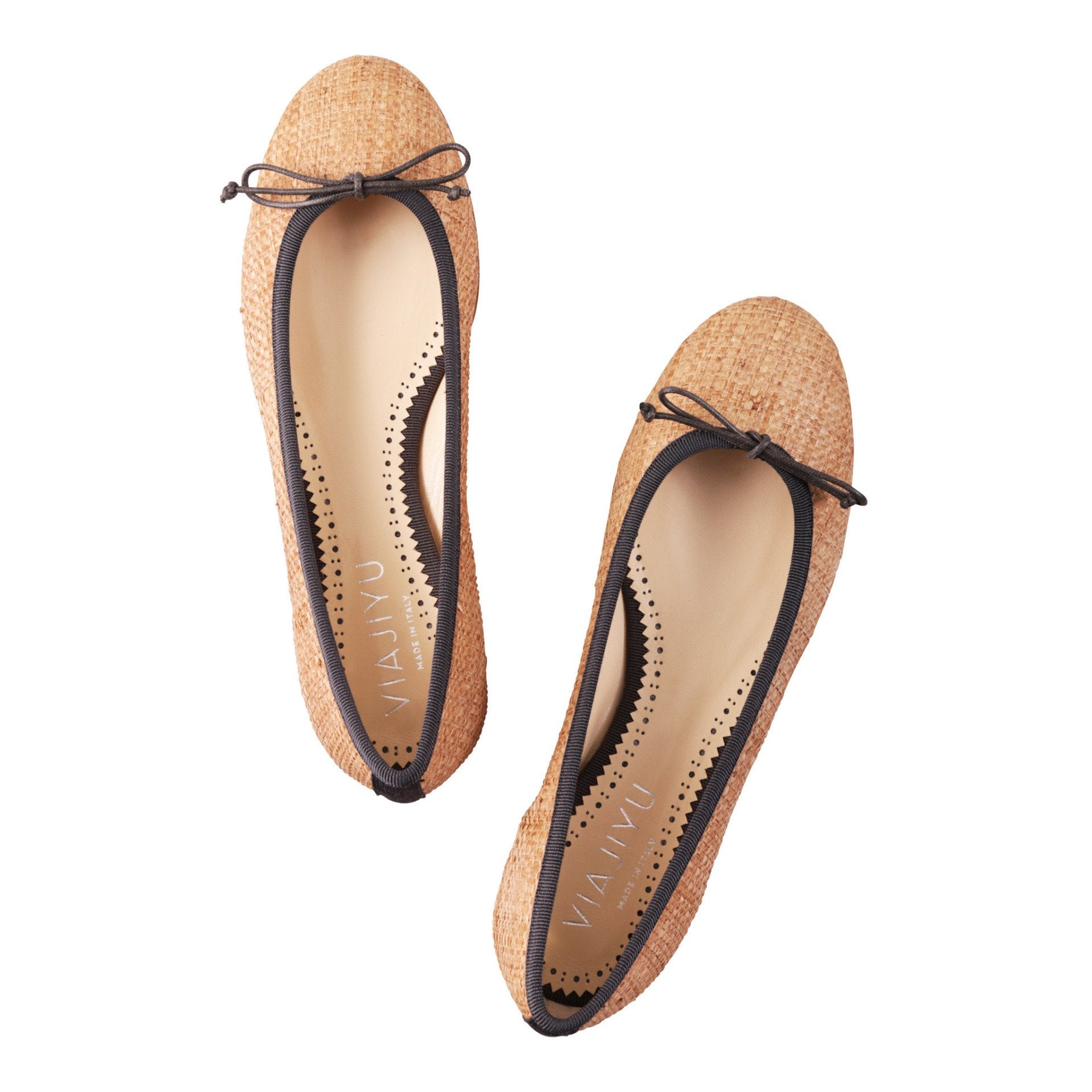 ROMA - Raffia Natural + Drawstring Ferro Bow, VIAJIYU - Women's Hand Made Sustainable Luxury Shoes. Made in Italy. Made to Order.